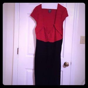 04e61553cdf Color-blocked Red   Black sleeveless ribbed dress